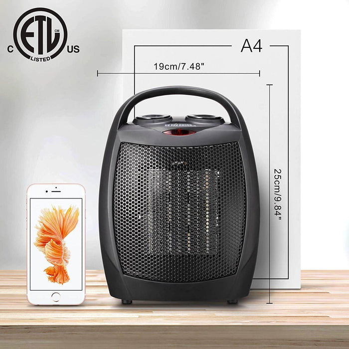 Portable Ceramic Space Heater for Home and Office Indoor Use with Adjustable Thermostat Overheat Protection and Carrying Handle ETL Listed, 750W/1500W