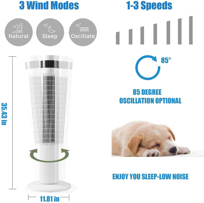 R.W.FLAME Tower Fan 43 with Oscillation Remote Control White 3 Wind Modes,Time Settings