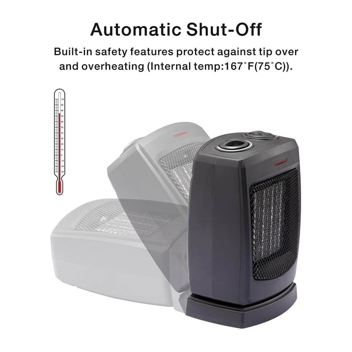 Oscillating Portable Ceramic Space Heater for Home and Office Indoor Use with Adjustable Thermostat Overheat Protection and Carrying Handle ETL Listed, 750W/1500W