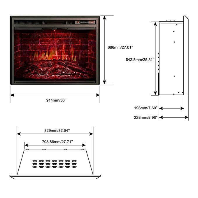 "36"" Electric Fireplace Insert, Glass Door and Mesh Screen, 750W-1500W"