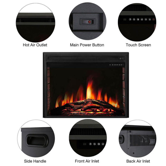 "39"" Freestanding & Recessed Electric Fireplace Insert, 750W-1500W"