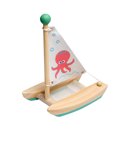Wooden Twin Hull Sail Boat Toyslink