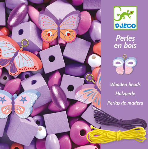 Djeco Colourful Butterfly Wooden Beads