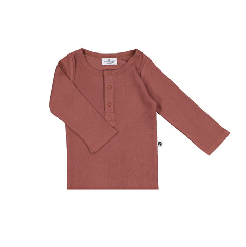 Burrow & Be Henley Rib Long Sleeve Top - Clay