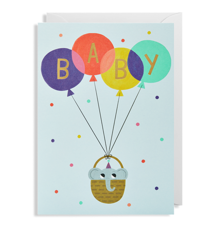 Baby Boy Balloons Card