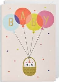 Baby Girl Balloons Card