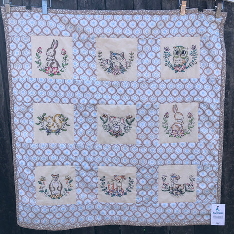 Rudi Patootie Handmade 9 Square 'Woodland' Machine Embroidered Quilt