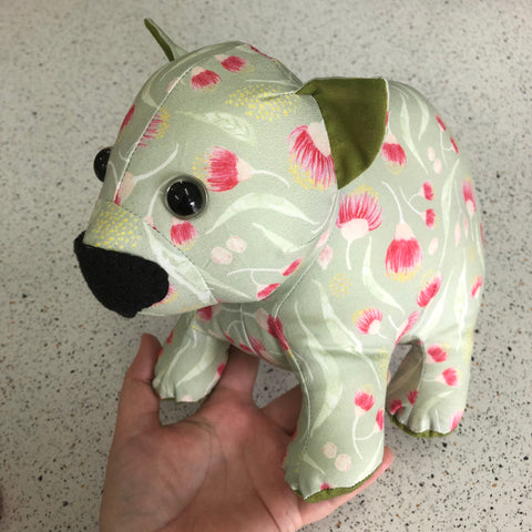 Handmade Soft Toy Baby Wombat - green