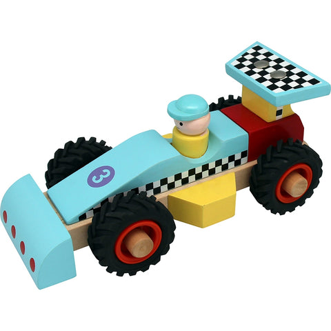 Wooden Racing Car Blue Toyslink