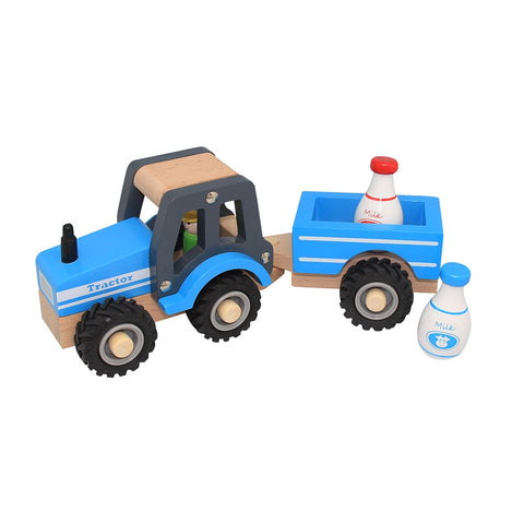 Wooden Tractor with Trailer (Blue) Toyslink