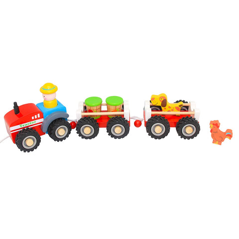 Wooden Tractor with Double Trailer Toyslink
