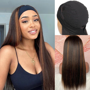 Highlight #4 Color Headband Wig Human Hair Half Wig 180% Density Straight Glueless