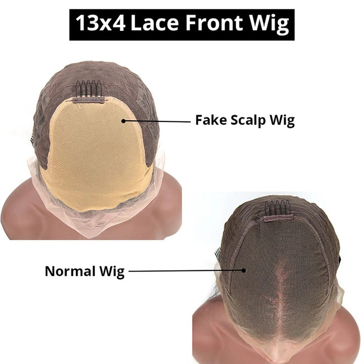 Cexxy Hair Straight 13X4 Fake Scalp Wig Virgin Hair Invisible Knot Lace Front Wig