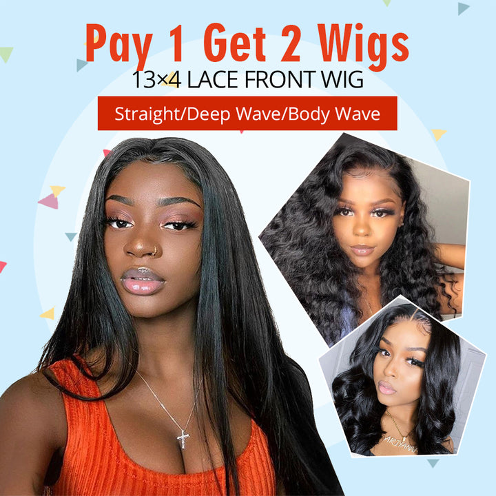 Pay 1 Get 2 Wigs, 9A 13x4 lace front wig human virgin hair