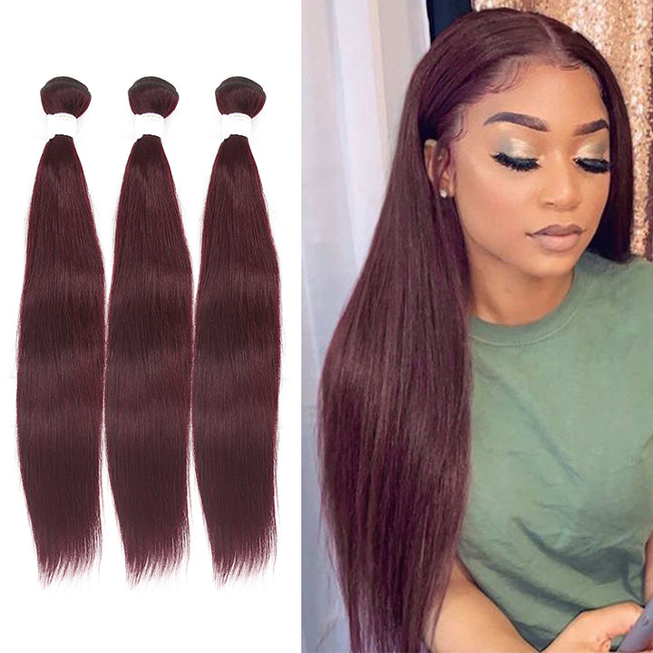 CEXXY VIRGIN HAIR #99J COLORED HAIR EXTENSION STRAIGHT BUNDLE DEAL