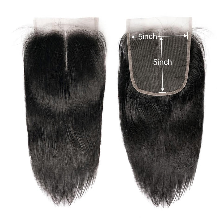 5x5 Closure Swiss Lace Straight Unprocessed Human Vingin Hair