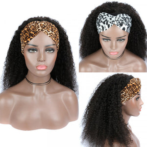 Headband Wig Human Hair Half Wig 180% Density Kinky Curly Natural Color Glueless