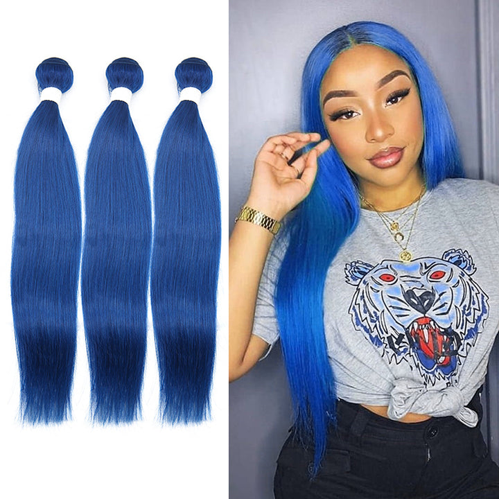 Blue Color Straight Virgin Hair Extension Bundle Deal