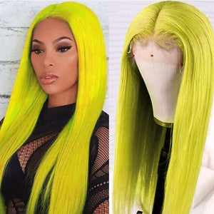 Green Colored Straight Human Hair Lace Wig 180% Density