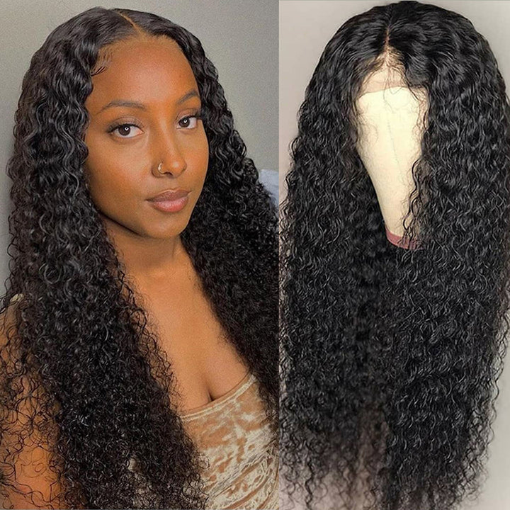 CEXXY HAIR CURLY DEEP WAVE 13X6 FAKE SCALP WIG VIRGIN HAIR INVISIBLE KNOT LACE FRONT WIG