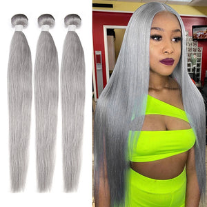 Silver Color Straight Virgin Hair Extension Bundle Deal