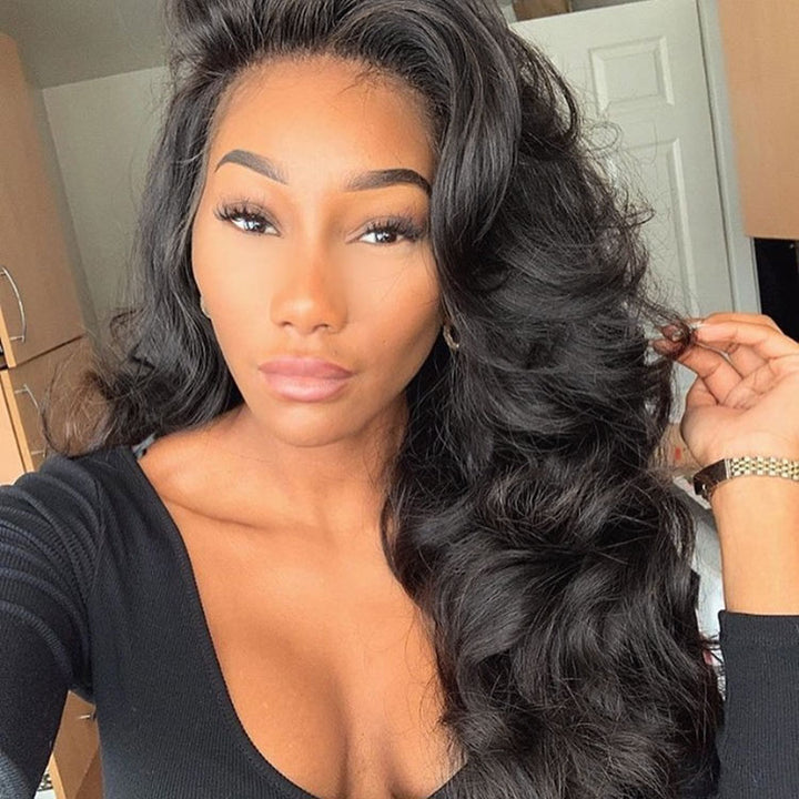 CEXXY HAIR LOOSE WAVE 13X6 FAKE SCALP WIG VIRGIN HAIR INVISIBLE KNOT LACE FRONT WIG