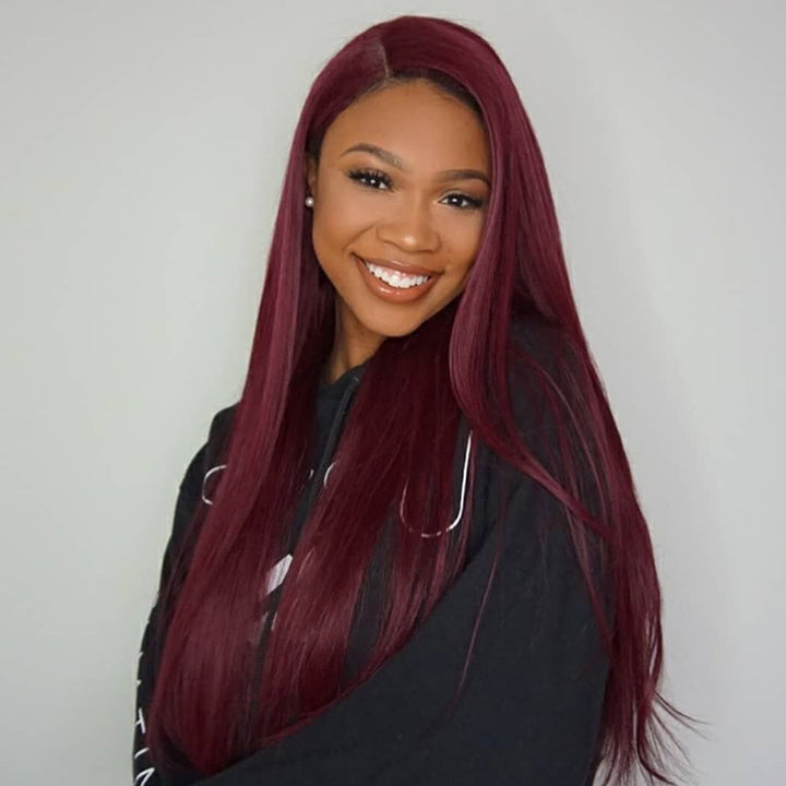 CEXXY HAIR 99J COLORED HUMAN HAIR LACE WIG STRAIGHT