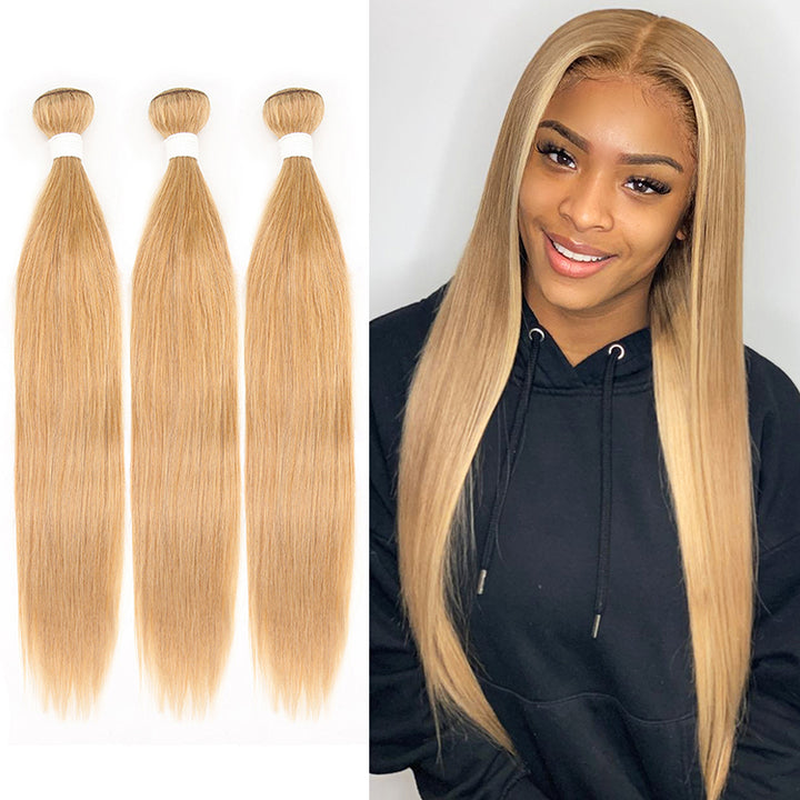 #27 Color Straight Virgin Hair Extension Bundle Deal