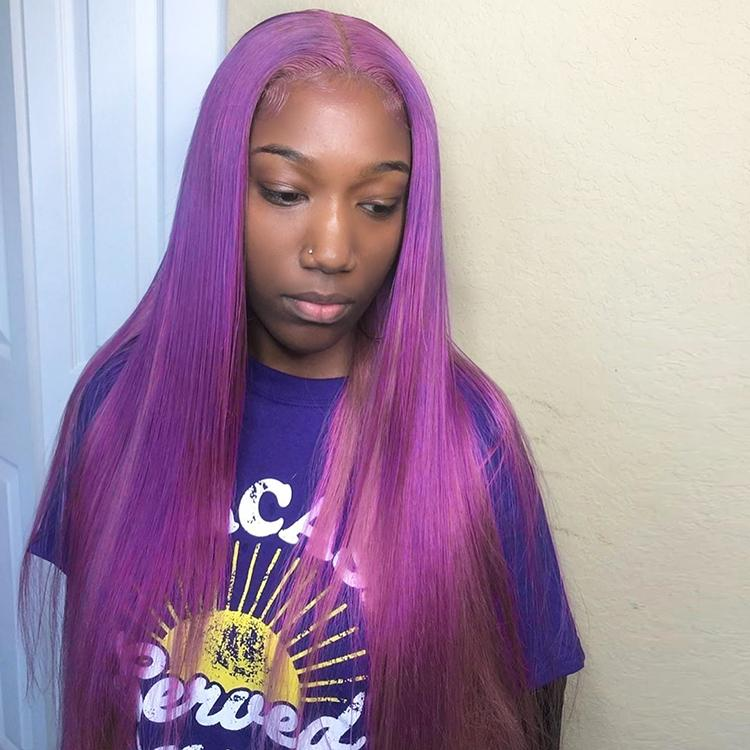 Purple Colored Straight Human Hair Lace Wig 180% Density