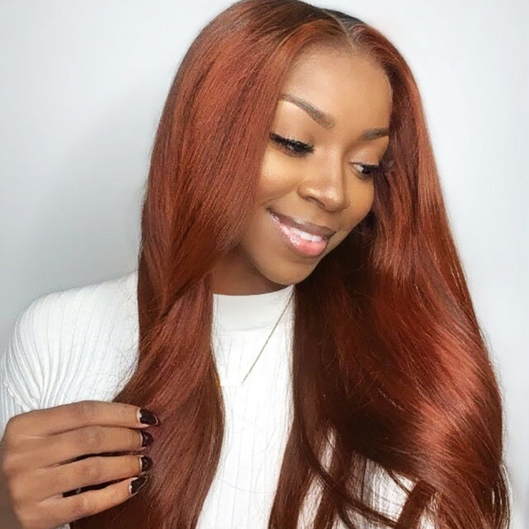 #33 Colored Straight Human Hair Lace Wig 180% Density