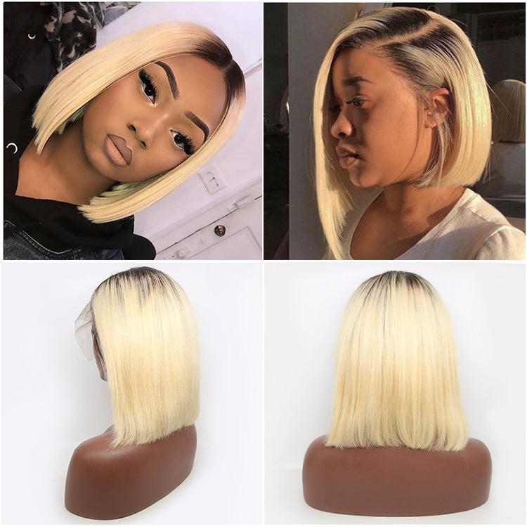 1B 613 Blonde Bob Wig Short Human Hair Wigs 150% 200% Density - cexxyhair.com
