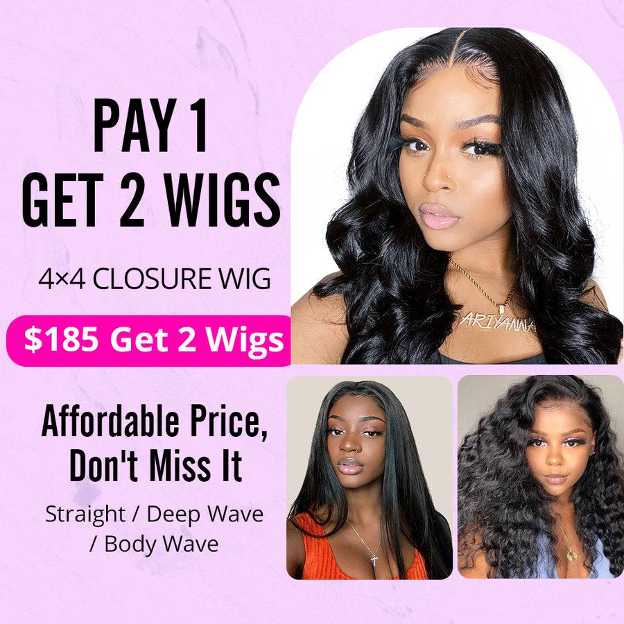 Pay 1 Get 2 Wigs, 4x4 closure wig human unprocessed hair 150%, 200% density