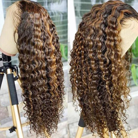 4/27 Highlight color deep curly 13x4 Lace Front Wig  Pre-plucked Hairline Piano Color