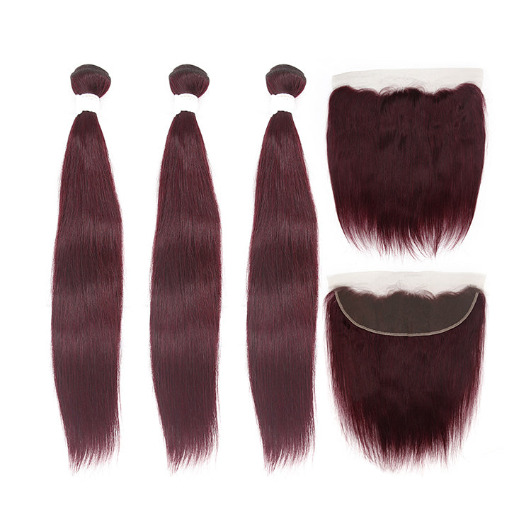 #99J Colored Straight Virgin Hair Extension Bundle Deal