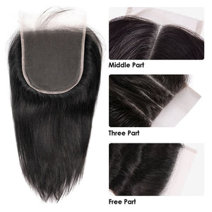 6x6 Closure Swiss Lace Straight Uprocessed Human Virgin Hair