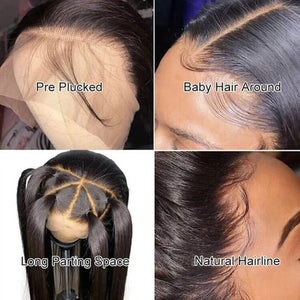 Straight 360 Lace Wig Pre Plucked With Baby Hair Human Hair Wigs
