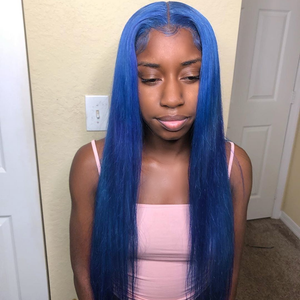 Blue Colored Straight Wig Human Hair Lace Wig 180% Density
