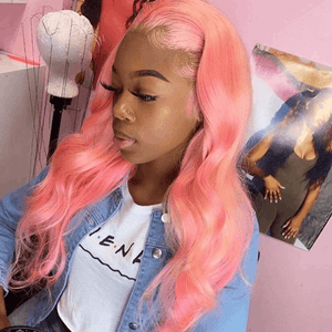 Pink Color Straight Wig Human Virgin Hair Lace Wig Cexxy Hair