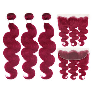 Burgundy Colored Body Wave Virgin Hair Extension Bundle Deal