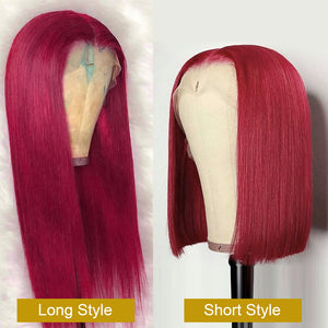 Burgundy Colored Straight Wig Human Hair Lace Wig 180% Density