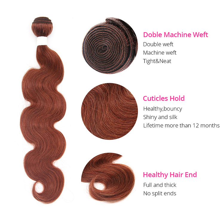 Cexxy Virgin Hair #33 Colored Hair Extension Body Wave Bundle Deal