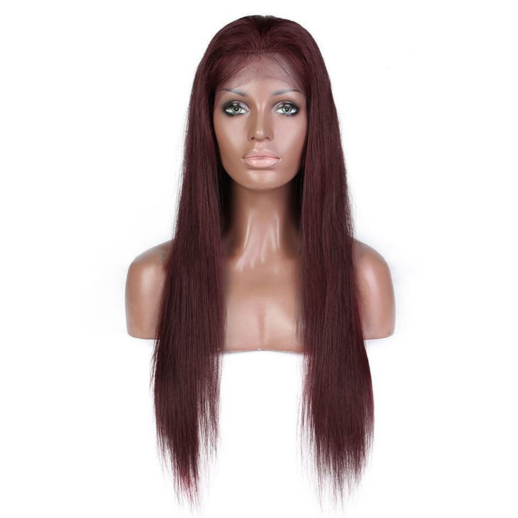 99J Colored Straight Human Hair Lace Wig 180% Density
