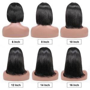 Straight Bob Wig Short Human Hair Wigs 150% 200% Density - cexxyhair.com