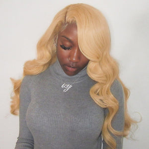#27 Colored Body Wave Human Hair Lace Wig 180% Density