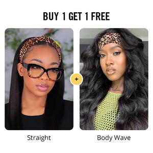 Pay 1 Get 2 Wigs, Headband Wig 180% Density Glueless Human Hair