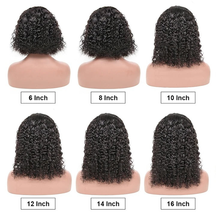 CURLY BOB WIG 4*4 CLOSURE SHORT HUMAN HAIR WIGS  PRE-PLUCKED HAIRLINE