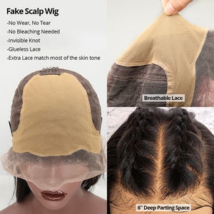 Cexxy Hair Body Wave 13X4 Fake Scalp Wig Virgin Hair Invisible Knot Lace Front Wig