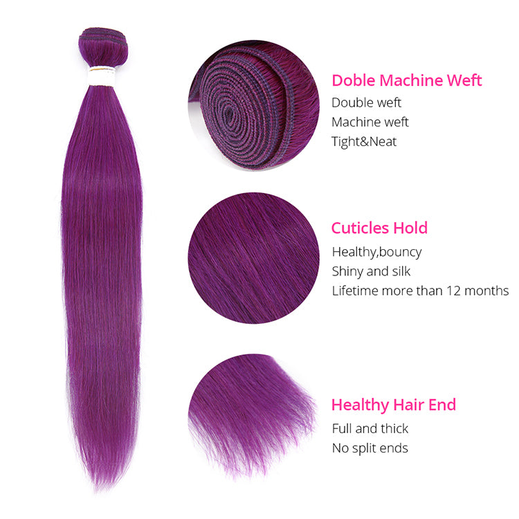 Purple Color Straight Virgin Hair Extension Bundle Deal
