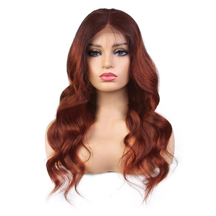 #33 Colored Body Wave Human Hair Lace Wig 180% Density