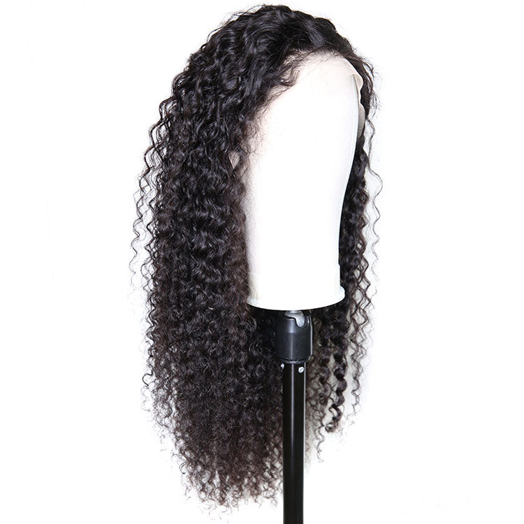 Cexxy Hair Curly Deep Wave 13X4 Fake Scalp Wig Virgin Hair Invisible Knot Lace Front Wig